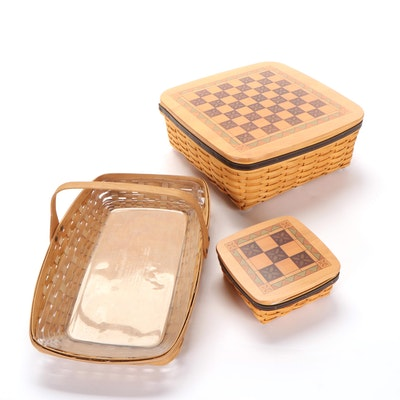 "Longaberger ""Checkers"" and ""Tic-Tac-Toe"" Woven Baskets and Handled Flat Basket"