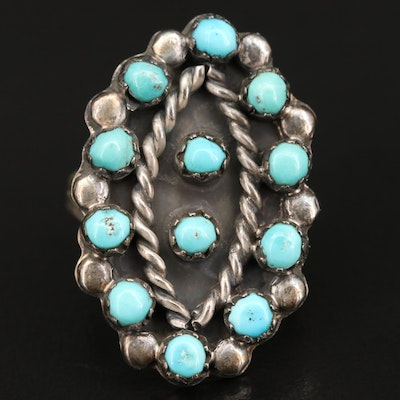 Sterling Silver Turquoise Ring with Rope Style Accents