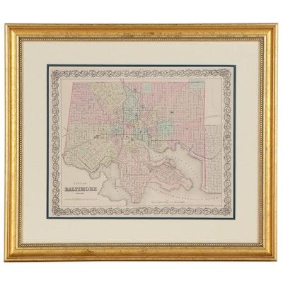 J.H. Colton & Co. Atlas City Map of Baltimore, 1855