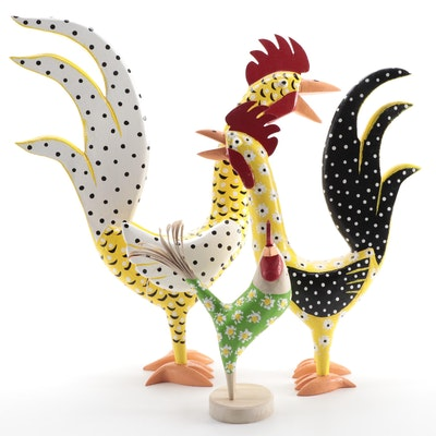 Lonnie and Twyla Money Hand-Painted Folk Art Chicken Carvings