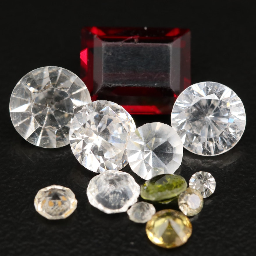 Loose Faceted Lab Grown Cubic Zirconia and Rhinestones