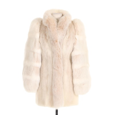 Blush Mink and Fox Fur Stroller Coat