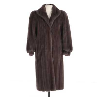 Sapphire Canadian Mink Fur Coat with Banded Cuffs from Serge Beaudoin Fourrures