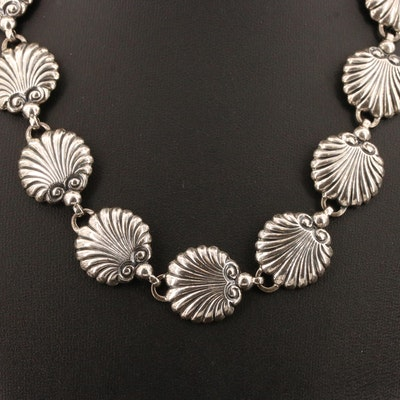 Danecraft Sterling Silver Shell Motif Link Necklace