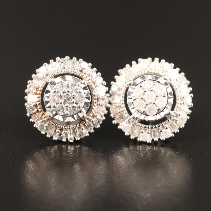 Sterling Silver Diamond Cluster Earrings with Halos