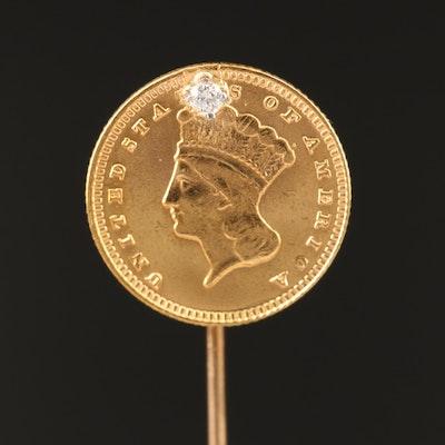 14K Diamond Stick Pin with 1874 Indian Princess Head Gold Dollar