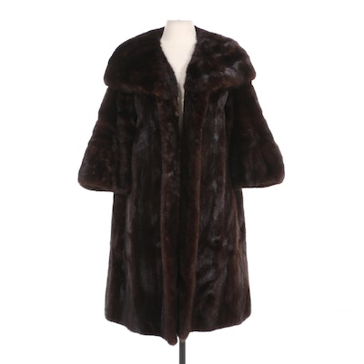 Mahogany Mink Fur Open-Front Coat with Shawl Collar and Bracelet Sleeves