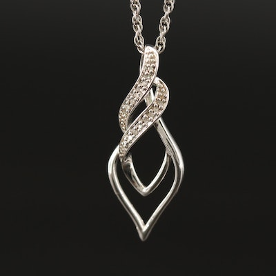 Sterling Diamond Pendant Necklace