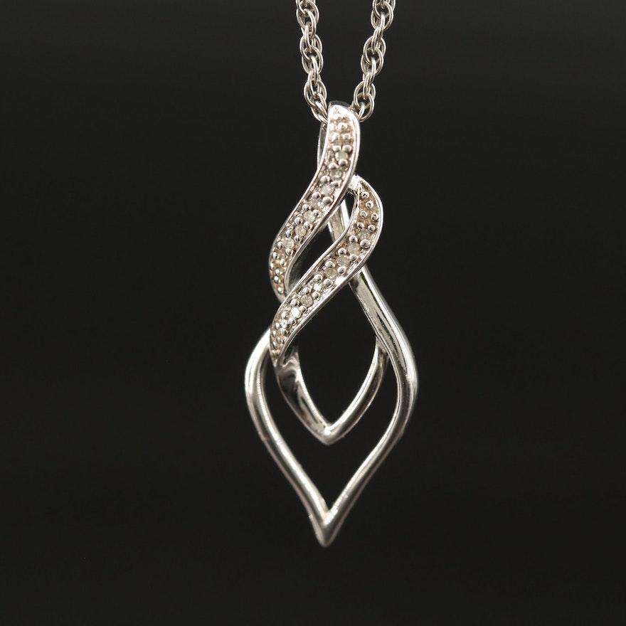 Sterling Diamond Pendant Necklace