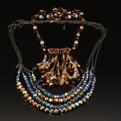 Glass Beaded Multi Strand Necklace and Fringe Necklace