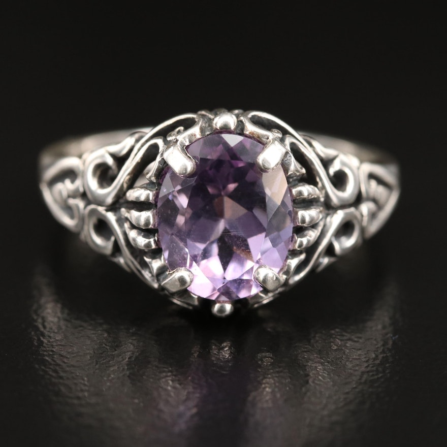 Kabana Sterling Silver Amethyst Ring with Filigree Shoulders