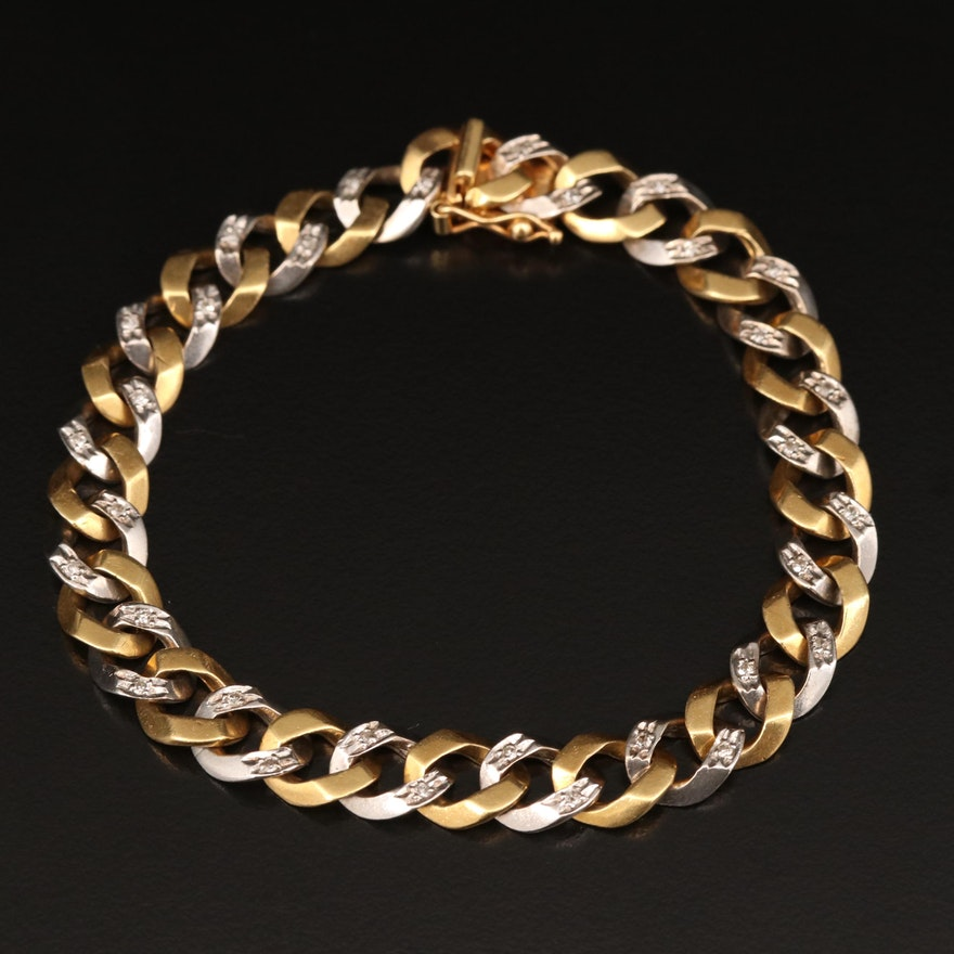 Two Tone 18K Diamond Curb Link Bracelet
