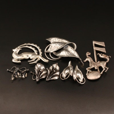 Sterling Silver Jewelry Selection Featuring Carousel Horse Brooch