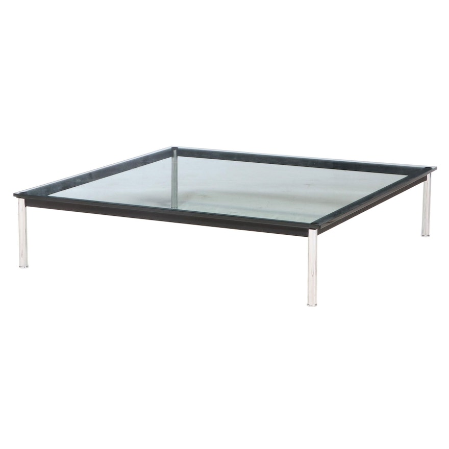 Cassina Modern Glass Top Chrome Coffee Table Designed by Le Corbusier