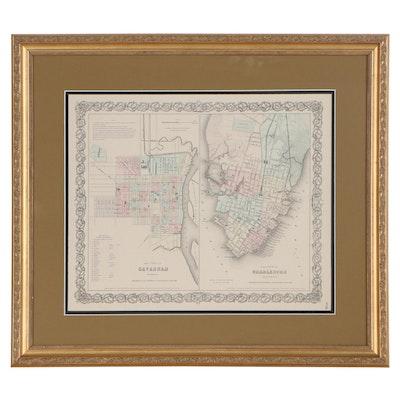 J.H. Colton City Maps of Savannah, GA and Charleston, SC, Mid/Late 19th Century