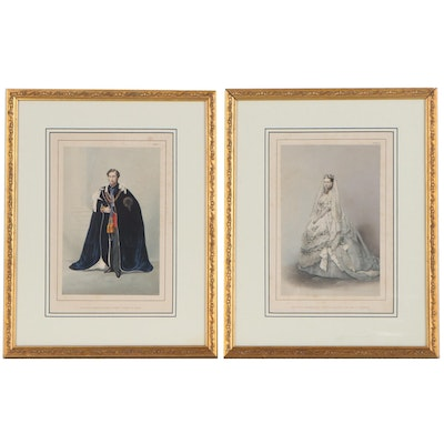 Hand-Colored Lithographs after Robert Dudley of Royal Wedding Portraits, 1863