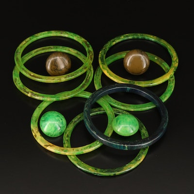 Marbled Bangles and Non-Pierced Button Earrings