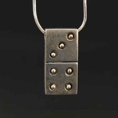 Sterling Domino Pendant Necklace