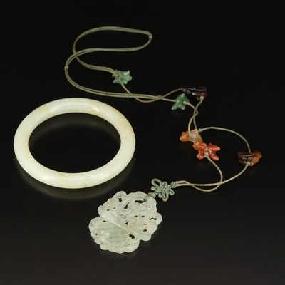 Asian Style Serpentine and Agate Necklace and Nephrite Hololith Bangle
