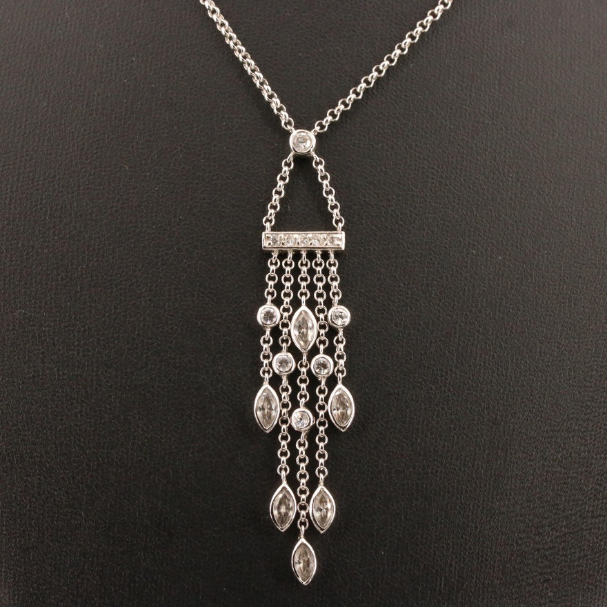 Sterling Silver Cubic Zirconia Chandelier Necklace