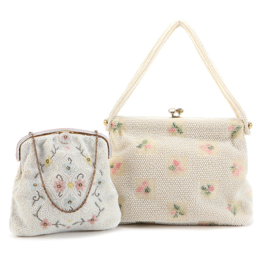 Lumured and E. Grillot Floral Beaded Frame Purses