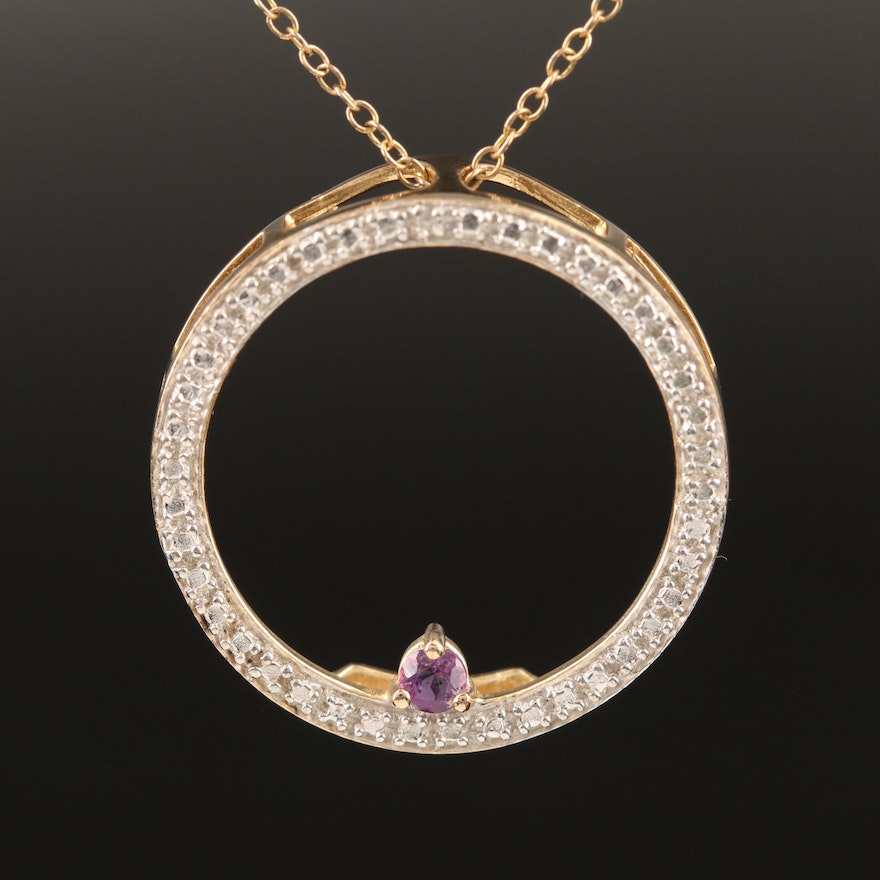 Sterling Silver Amethyst and Diamond Circle Necklace