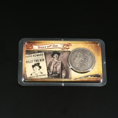1884-O Morgan Silver Dollar with Billy the Kid Biographical Holder