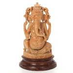 Hindu Wooden Ganesha Figure on Pedestal