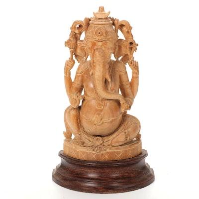 Hindu Wooden Ganesha Figure on Pedestal