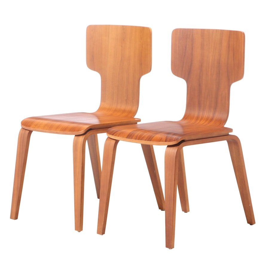 Pair of West Elm Modernist Style Bent Walnut Stackable Dining Side Chairs