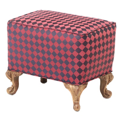 Louis XV Style Custom-Upholstered and Gilt Composite Footstool