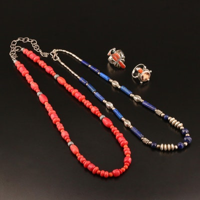 Assorted Sterling and 900 Silver Jewelry Featuring Lapis Lazuli, Coral and Shell