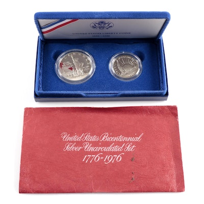 1986 Liberty Silver Dollar and Bicentennial Silver Set