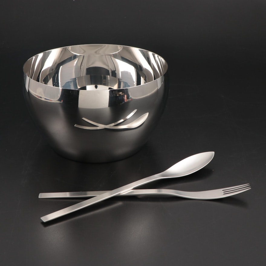 "Georg Jensen ""Cafu"" Stainless Steel Serving Bowl and Serving Utensils"