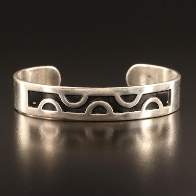 Sterling Silver Cuff with Half Circle Pattern