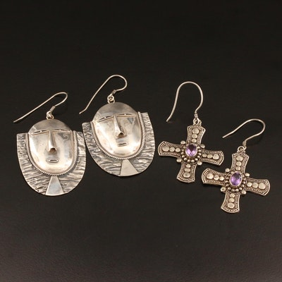Sterling Amethyst Cross Earrings and Figural Earrings