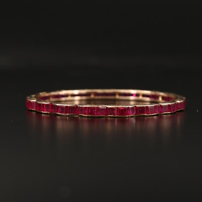 10K Ruby Bangle with Engraved Scalloped Edge