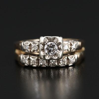 Vintage Diamond Soldered Wedding Set