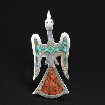 Sterling Stylized Thunderbird with Turquoise and Coral Inlay