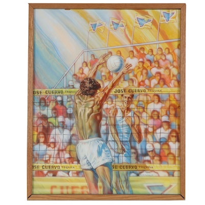 Manuel Morales Oil Painting of Volleyball Match, 1989