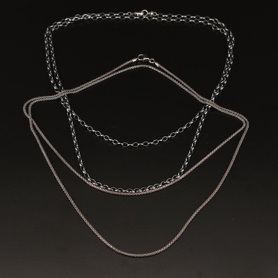 Sterling Silver Cable and Popcorn Chain Necklaces