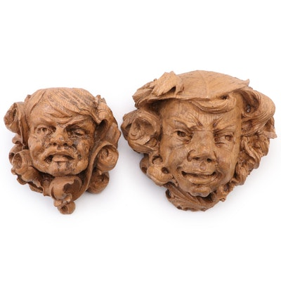Gargoyles Ltd. Composite Character Faced Shaped Wall Shelfs, Late 20th Century