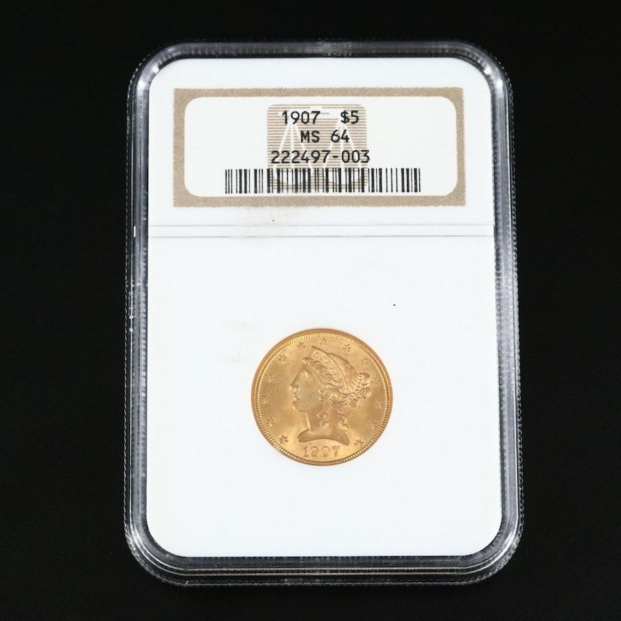 NGC Graded MS64 1907 Liberty Head $5 Gold Half Eagle