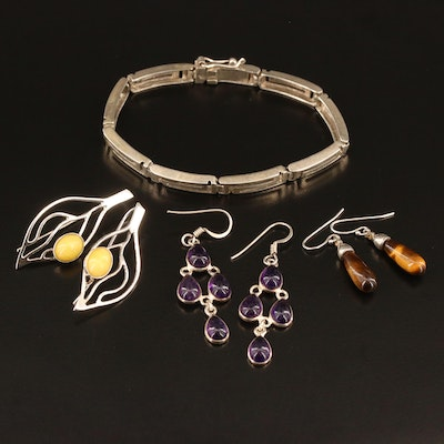 Selection of Sterling Jewelry Including Leaf Dangle Earrings
