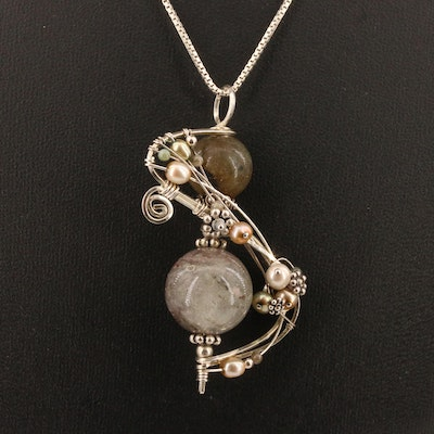 Sterling Silver Agate and Pearl Wirework Pendant Necklace
