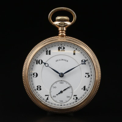1917 Illinois Gold Filled Open Face Pocket Watch