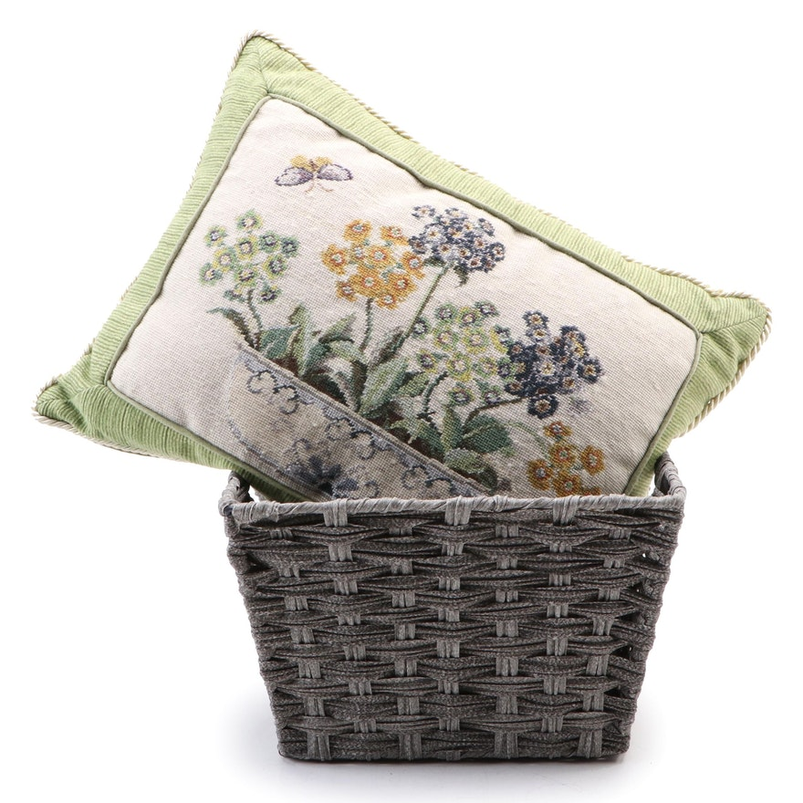123 Creations Inc Needlepoint Pillow and Decorative Storage Basket