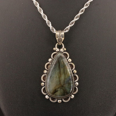 Sterling Silver Labradorite Pendant Necklace