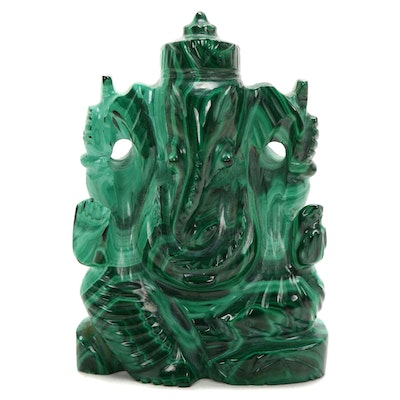 Hand-Carved Malachite Ganesha Figurine
