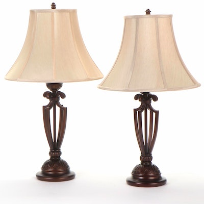 Pair of Table Lamps with Palmette Pattern Bases